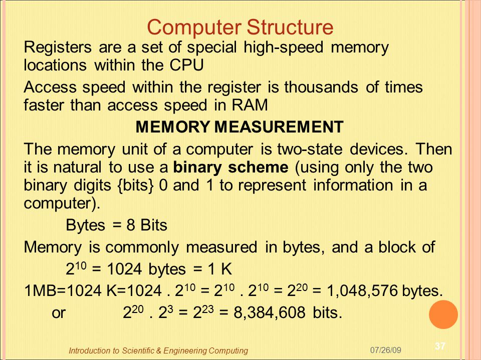 Computer Structure Registers are a set of special high-speed memory locations within the CPU Access speed within the register is thousands of times fa