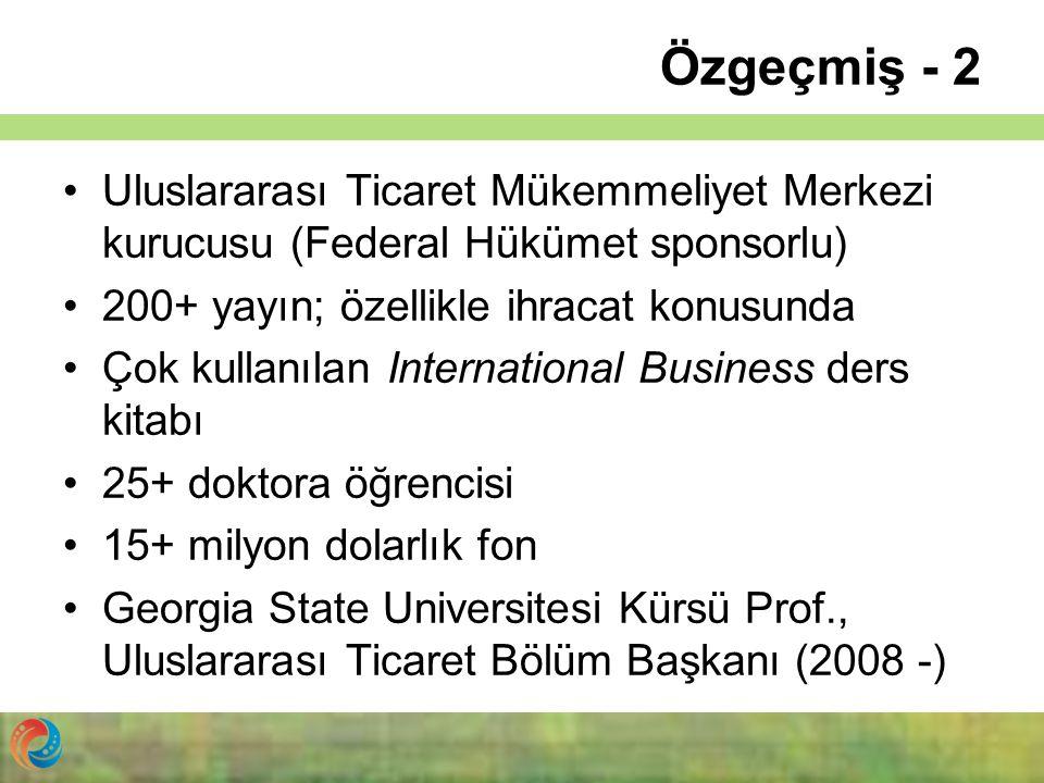 Özgeçmiş - 2 Uluslararası Ticaret Mükemmeliyet Merkezi kurucusu (Federal Hükümet sponsorlu) 200+ yayın; özellikle ihracat konusunda Çok kullanılan Int