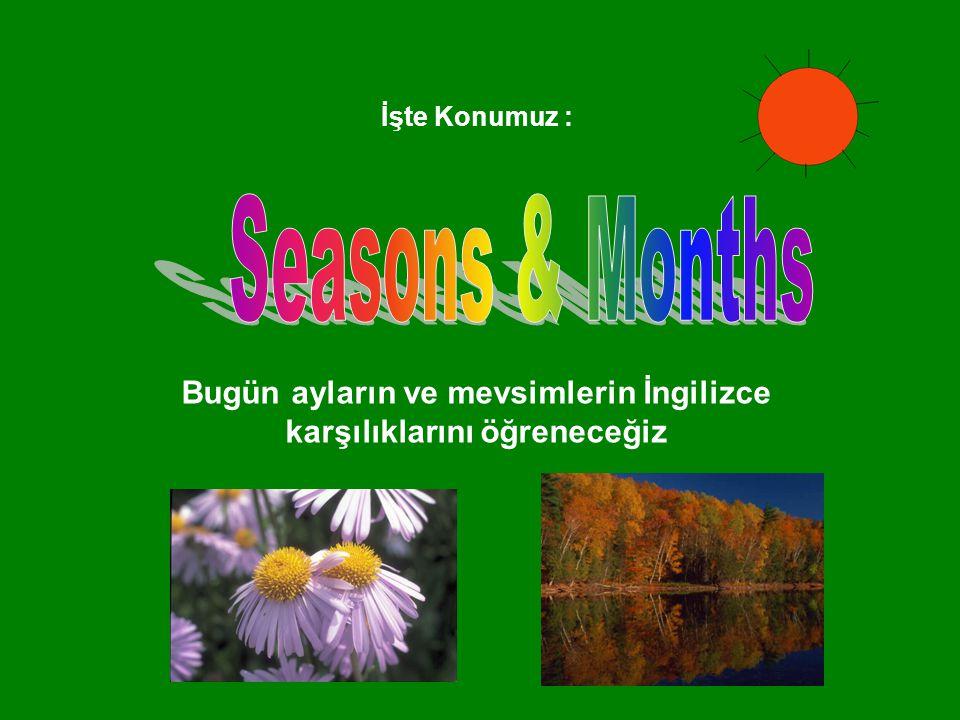 İşte Konumuz : Bugün ayların ve mevsimlerin İngilizce karşılıklarını öğreneceğiz