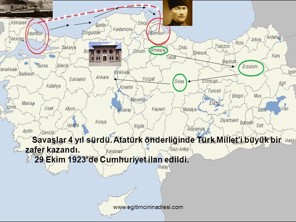 Savaşlar 4 yıl sürdü. Atatürk önderliğinde Türk Millet'i büyük bir zafer kazandı. 29 Ekim 1923'de Cumhuriyet ilan edildi.