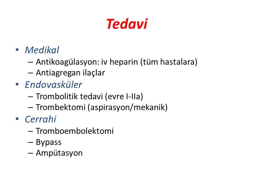 Tedavi Medikal – Antikoagülasyon: iv heparin (tüm hastalara) – Antiagregan ilaçlar Endovasküler – Trombolitik tedavi (evre I-IIa) – Trombektomi (aspir