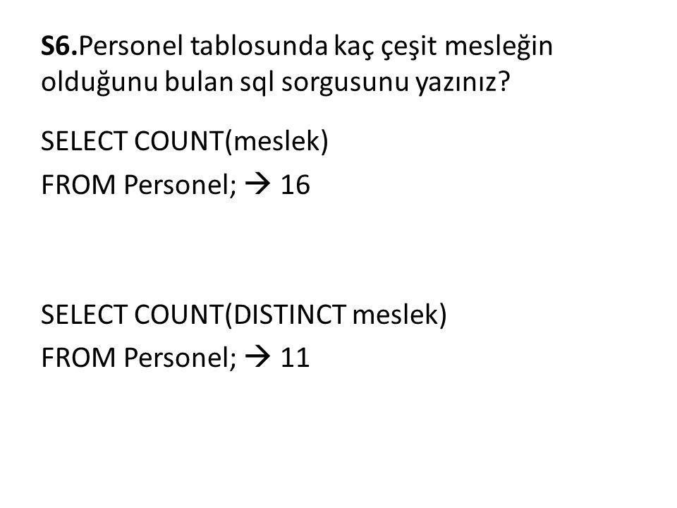 S6.Personel tablosunda kaç çeşit mesleğin olduğunu bulan sql sorgusunu yazınız? SELECT COUNT(meslek) FROM Personel;  16 SELECT COUNT(DISTINCT meslek)