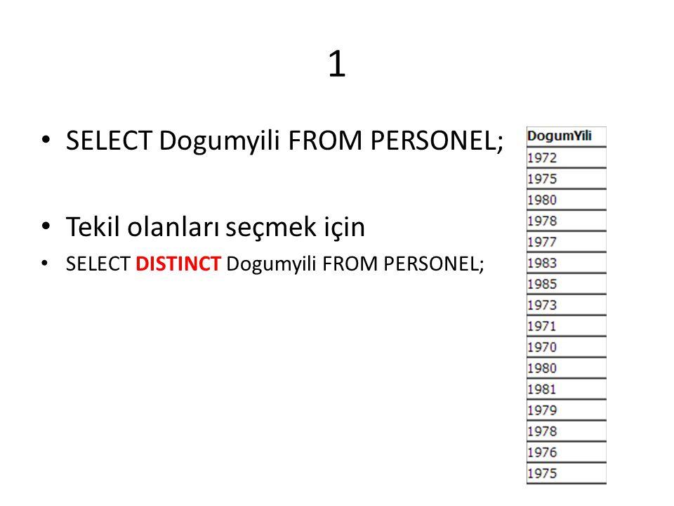 1 SELECT Dogumyili FROM PERSONEL; Tekil olanları seçmek için SELECT DISTINCT Dogumyili FROM PERSONEL;
