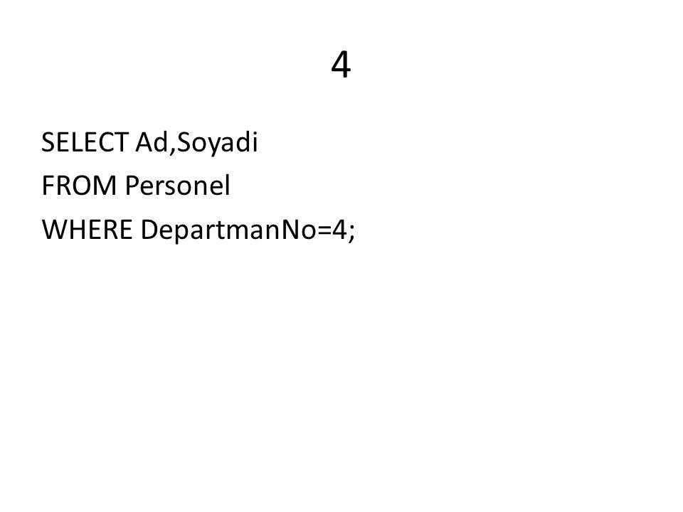 S2.Personel tablosundan adi e ile başlayan veya soyadında l harfi bulunan ve maaşının 2 katı 4400 den buyuk ve eşit olan adi ve soyadı a-z ye sıralı olan sql sorgusunu yazınız.