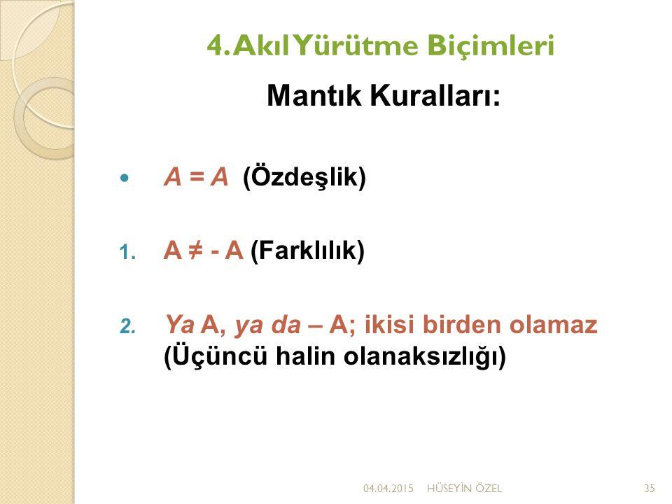 4. Akıl Yürütme Biçimleri Mantık Kuralları: A = A (Özdeşlik) 1. A ≠ - A (Farklılık) 2. Ya A, ya da – A; ikisi birden olamaz (Üçüncü halin olanaksızlığ