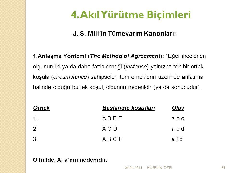 """04.04.2015HÜSEY İ N ÖZEL39 4. Akıl Yürütme Biçimleri J. S. Mill'in Tümevarım Kanonları: 1.Anlaşma Yöntemi (The Method of Agreement): """"Eğer incelenen o"""