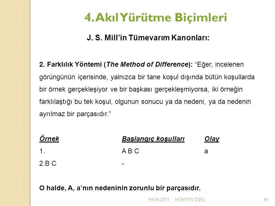 """04.04.2015HÜSEY İ N ÖZEL40 4. Akıl Yürütme Biçimleri J. S. Mill'in Tümevarım Kanonları: 2. Farklılık Yöntemi (The Method of Difference): """"Eğer, incele"""