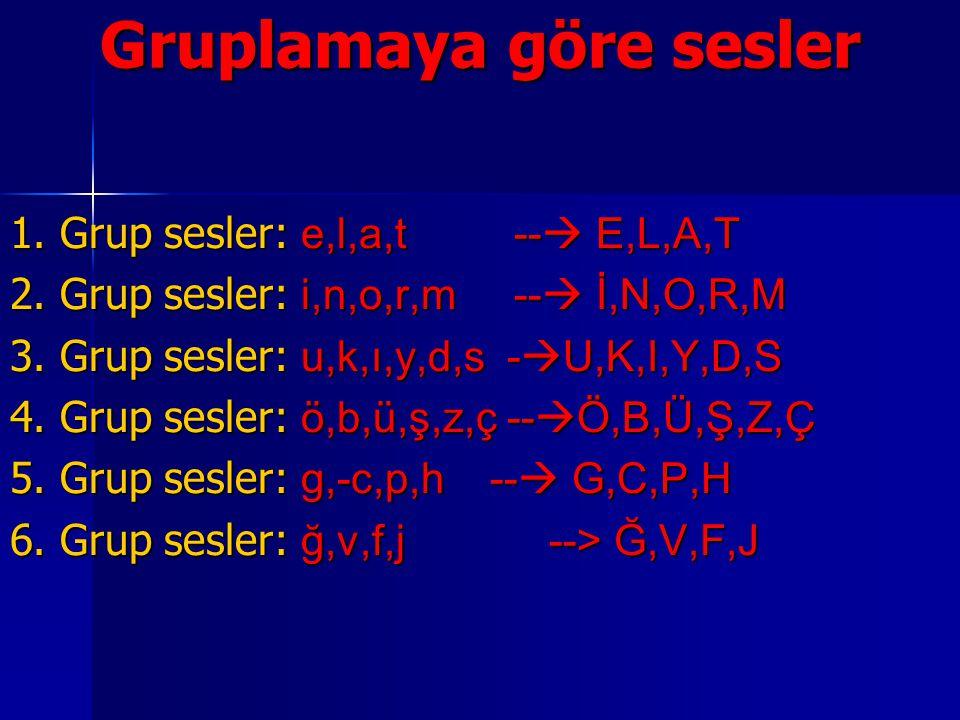 Gruplamaya göre sesler 1.Grup sesler: e,l,a,t --  E,L,A,T 2.