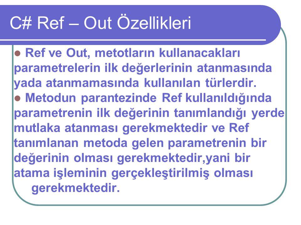 C# Ref – Out Özellikleri Ref ve Out, metotların kullanacakları parametrelerin ilk değerlerinin atanmasında yada atanmamasında kullanılan türlerdir. Me