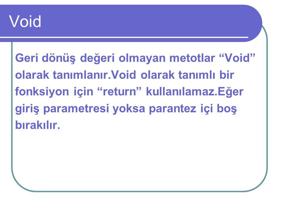 """Void Geri dönüş değeri olmayan metotlar """"Void"""" olarak tanımlanır.Void olarak tanımlı bir fonksiyon için """"return"""" kullanılamaz.Eğer giriş parametresi y"""