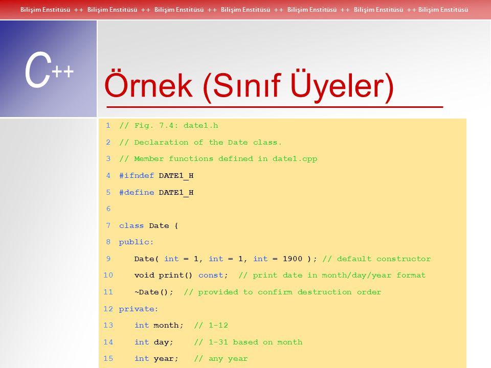 Bilişim Enstitüsü ++ Bilişim Enstitüsü ++ Bilişim Enstitüsü ++ Bilişim Enstitüsü ++ Bilişim Enstitüsü ++ Bilişim Enstitüsü ++ Bilişim Enstitüsü C ++ new ve delete Operatörleri ile Dinamik Bellek Tahsisatı delete örnekleri: delete typeNamePtr;  typeName nesnesinin destructor'u çağrılır ve kullandığı bellek boşaltılır.