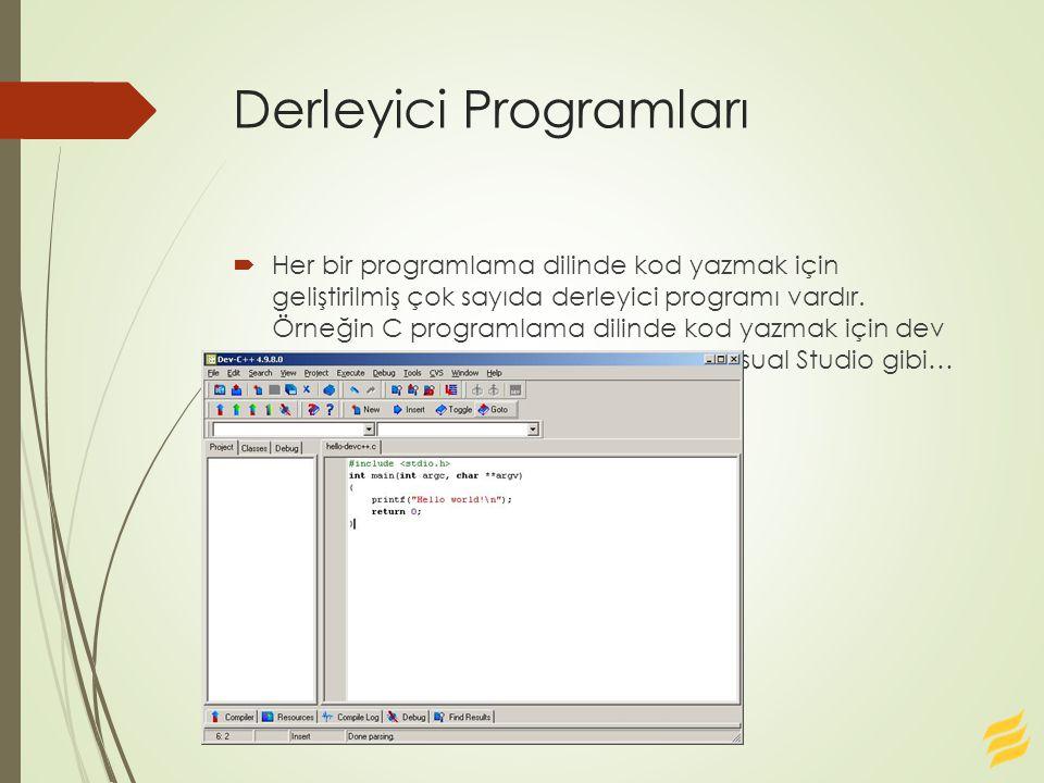 Derleyici Programları  Her bir programlama dilinde kod yazmak için geliştirilmiş çok sayıda derleyici programı vardır. Örneğin C programlama dilinde