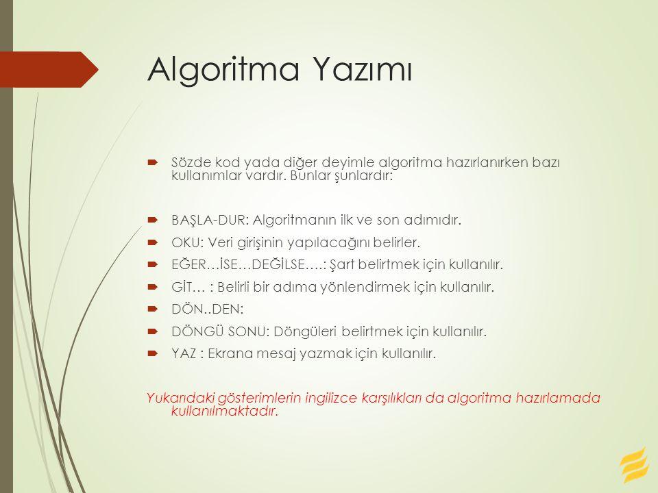 Algoritma Yazımı  Sözde kod yada diğer deyimle algoritma hazırlanırken bazı kullanımlar vardır. Bunlar şunlardır:  BAŞLA-DUR: Algoritmanın ilk ve so