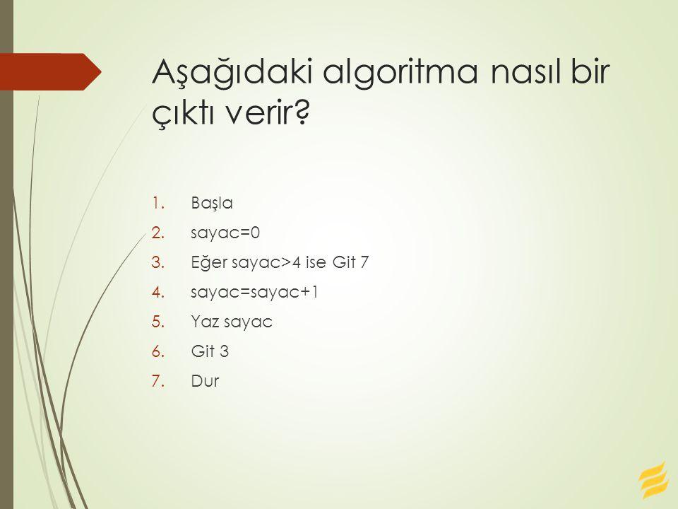 Aşağıdaki algoritma nasıl bir çıktı verir? 1.Başla 2.sayac=0 3.Eğer sayac>4 ise Git 7 4.sayac=sayac+1 5.Yaz sayac 6.Git 3 7.Dur
