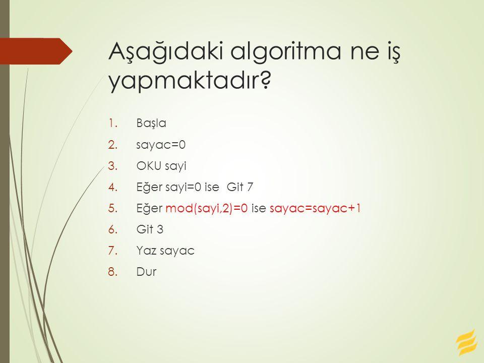 Aşağıdaki algoritma ne iş yapmaktadır? 1.Başla 2.sayac=0 3.OKU sayi 4.Eğer sayi=0 ise Git 7 5.Eğer mod(sayi,2)=0 ise sayac=sayac+1 6.Git 3 7.Yaz sayac