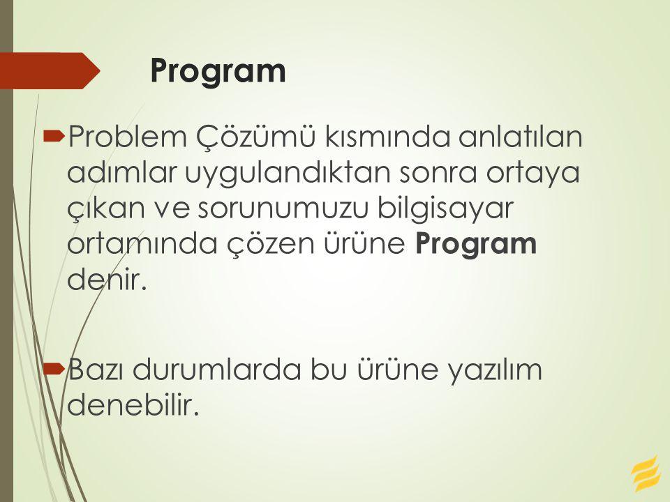 Program  Problem Çözümü kısmında anlatılan adımlar uygulandıktan sonra ortaya çıkan ve sorunumuzu bilgisayar ortamında çözen ürüne Program denir.  B