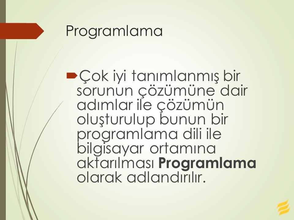 Programlama  Çok iyi tanımlanmış bir sorunun çözümüne dair adımlar ile çözümün oluşturulup bunun bir programlama dili ile bilgisayar ortamına aktarıl