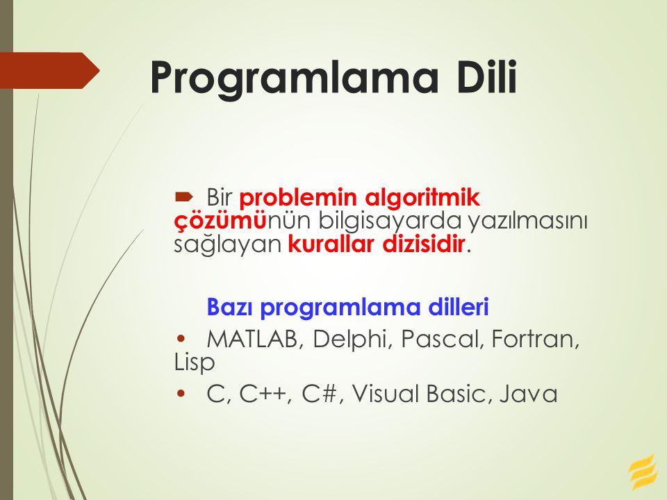 Programlama Dili  Bir problemin algoritmik çözümü nün bilgisayarda yazılmasını sağlayan kurallar dizisidir. Bazı programlama dilleri MATLAB, Delphi,