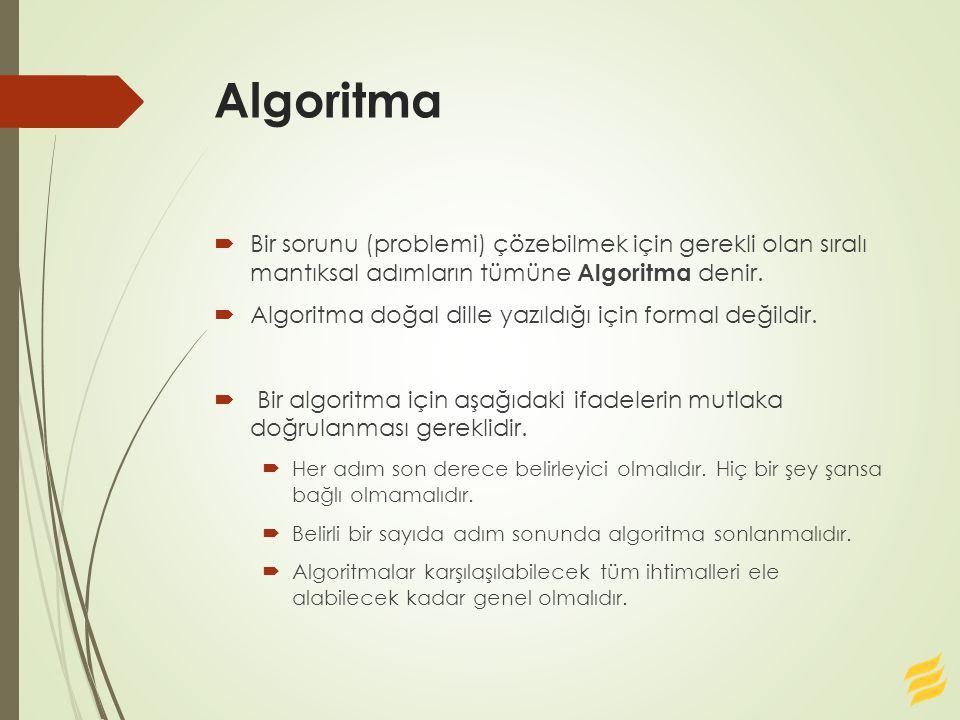 Algoritma  Bir sorunu (problemi) çözebilmek için gerekli olan sıralı mantıksal adımların tümüne Algoritma denir.  Algoritma doğal dille yazıldığı iç