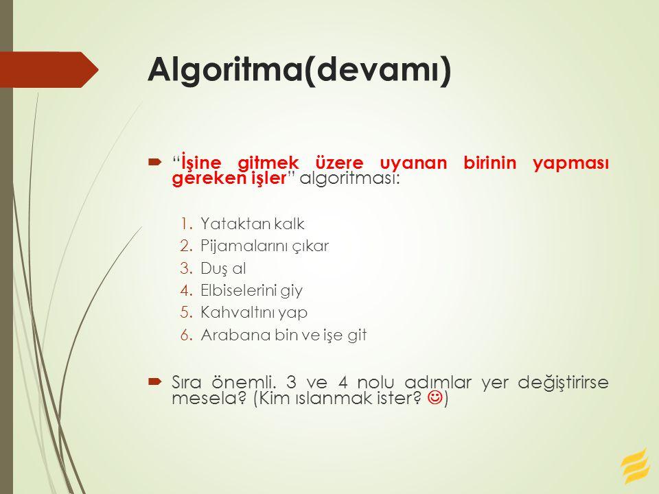 """Algoritma(devamı)  """" İşine gitmek üzere uyanan birinin yapması gereken işler """" algoritması: 1.Yataktan kalk 2.Pijamalarını çıkar 3.Duş al 4.Elbiseler"""