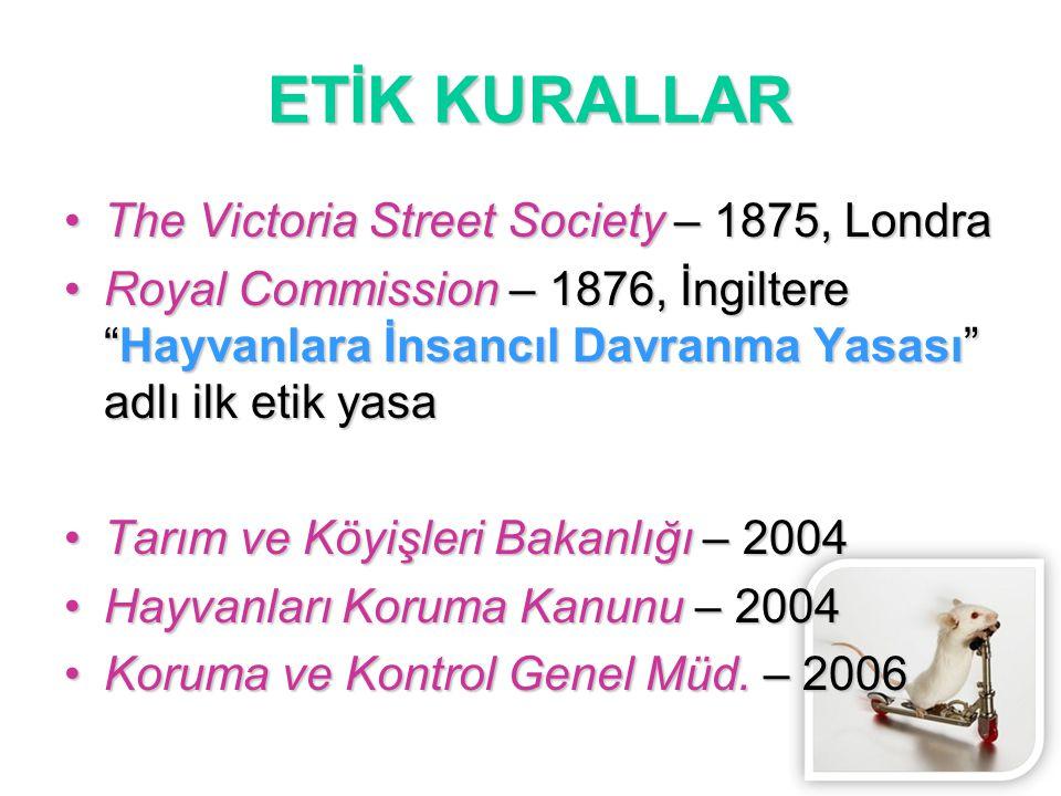 """ETİK KURALLAR The Victoria Street Society – 1875, LondraThe Victoria Street Society – 1875, Londra Royal Commission – 1876, İngiltere """"Hayvanlara İnsa"""