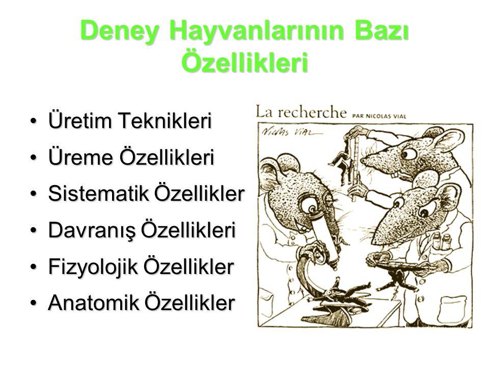 Deney Hayvanlarının Bazı Özellikleri Üretim TeknikleriÜretim Teknikleri Üreme ÖzellikleriÜreme Özellikleri Sistematik ÖzelliklerSistematik Özellikler