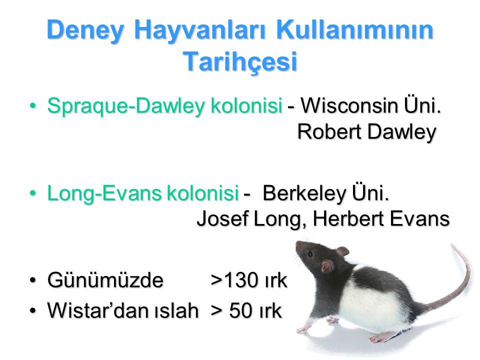Deney Hayvanları Kullanımının Tarihçesi Spraque-Dawley kolonisi - Wisconsin Üni. Robert DawleySpraque-Dawley kolonisi - Wisconsin Üni. Robert Dawley L
