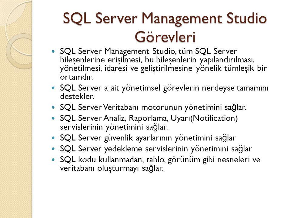 SQL Server Management Studio Görevleri SQL Server Management Studio, tüm SQL Server bileşenlerine erişilmesi, bu bileşenlerin yapılandırılması, yöneti