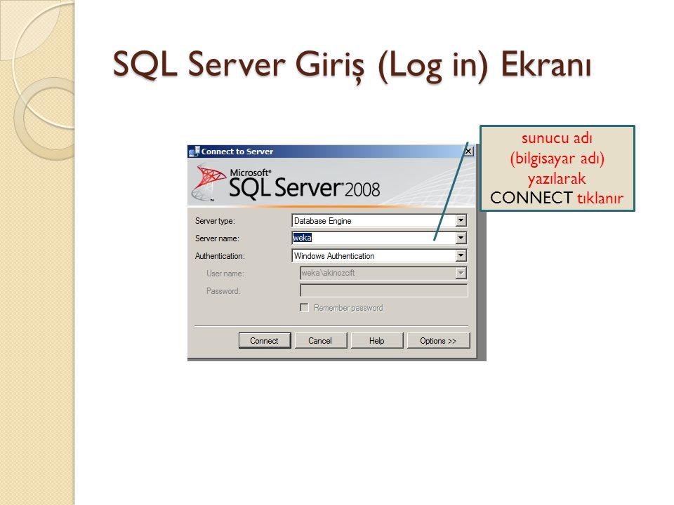 SQL Server Giriş (Log in) Ekranı sunucu adı (bilgisayar adı) yazılarak CONNECT tıklanır