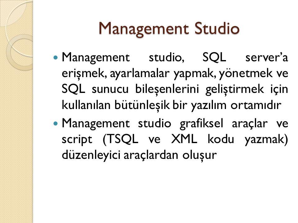 Management Studio Management studio, SQL server'a erişmek, ayarlamalar yapmak, yönetmek ve SQL sunucu bileşenlerini geliştirmek için kullanılan bütünl