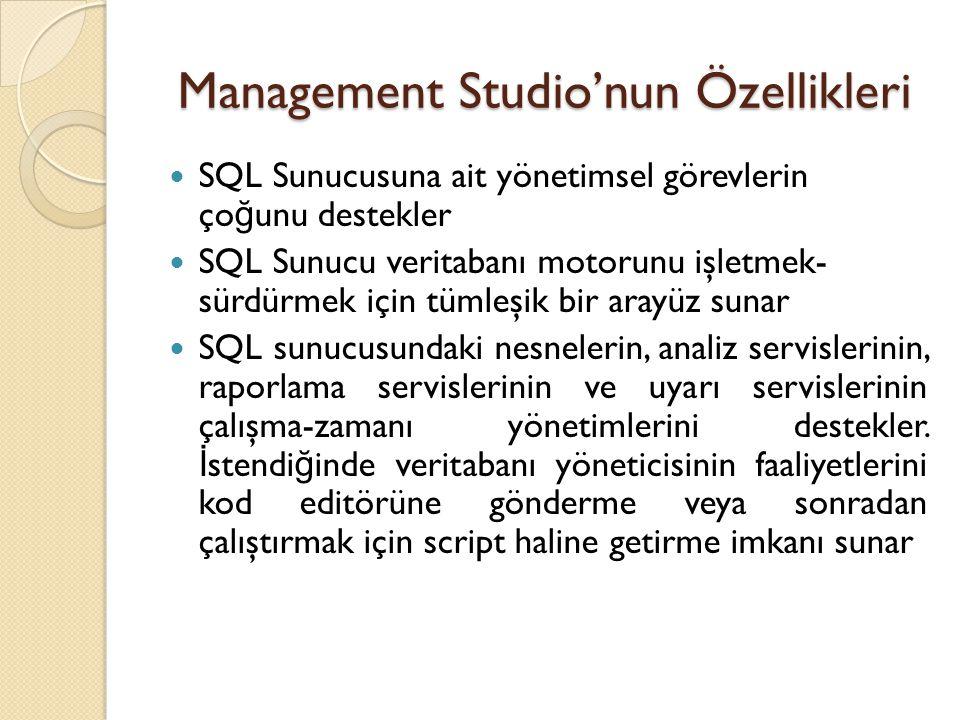 Management Studio'nun Özellikleri SQL Sunucusuna ait yönetimsel görevlerin ço ğ unu destekler SQL Sunucu veritabanı motorunu işletmek- sürdürmek için