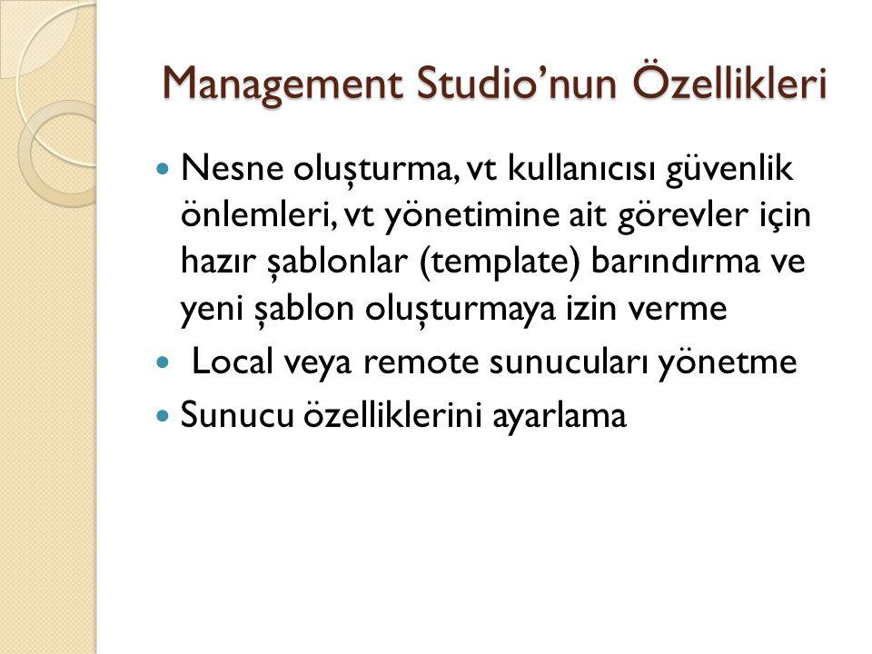 Management Studio'nun Özellikleri Nesne oluşturma, vt kullanıcısı güvenlik önlemleri, vt yönetimine ait görevler için hazır şablonlar (template) barın