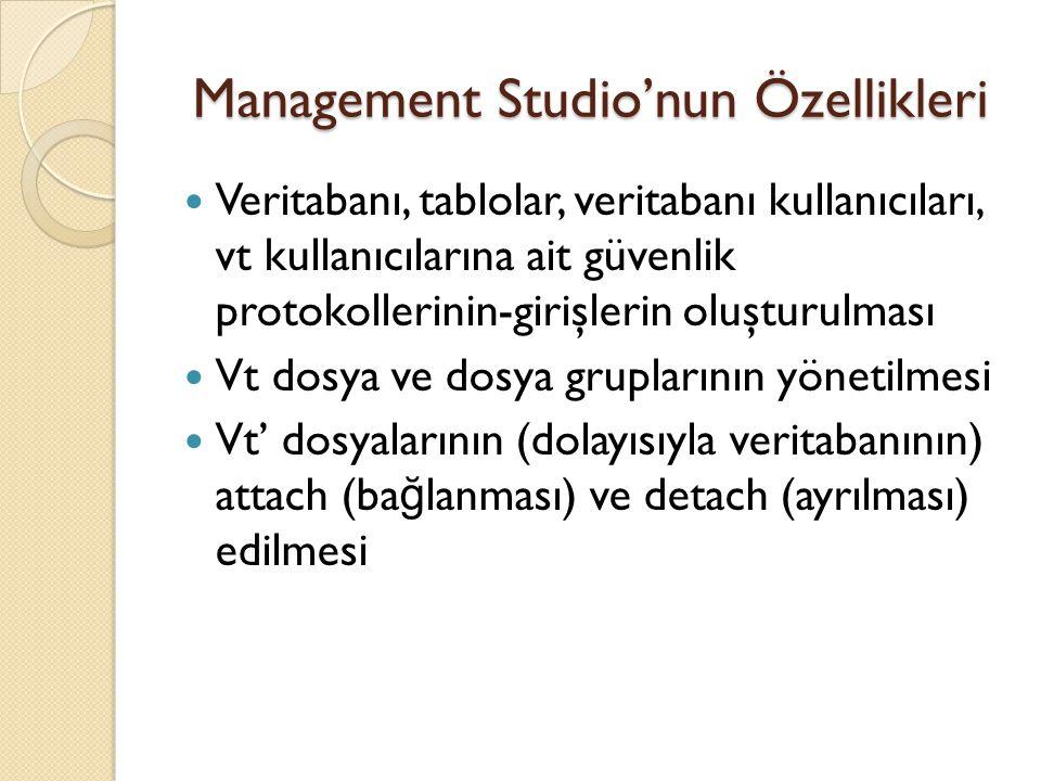Management Studio'nun Özellikleri Veritabanı, tablolar, veritabanı kullanıcıları, vt kullanıcılarına ait güvenlik protokollerinin-girişlerin oluşturul