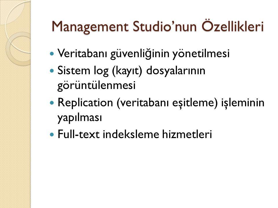 Management Studio'nun Özellikleri Veritabanı güvenli ğ inin yönetilmesi Sistem log (kayıt) dosyalarının görüntülenmesi Replication (veritabanı eşitlem