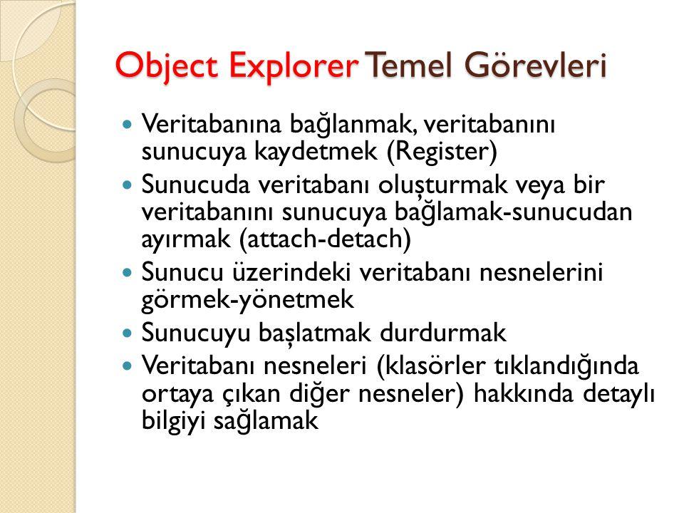 Object Explorer Temel Görevleri Veritabanına ba ğ lanmak, veritabanını sunucuya kaydetmek (Register) Sunucuda veritabanı oluşturmak veya bir veritaban