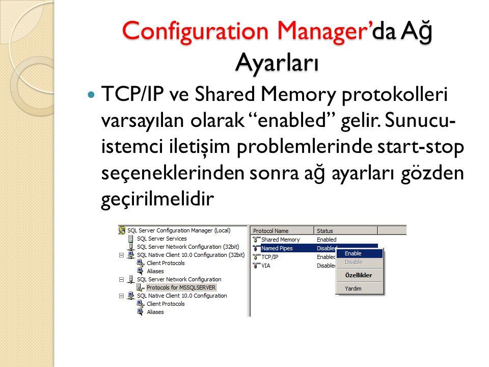 """Configuration Manager'da A ğ Ayarları TCP/IP ve Shared Memory protokolleri varsayılan olarak """"enabled"""" gelir. Sunucu- istemci iletişim problemlerinde"""