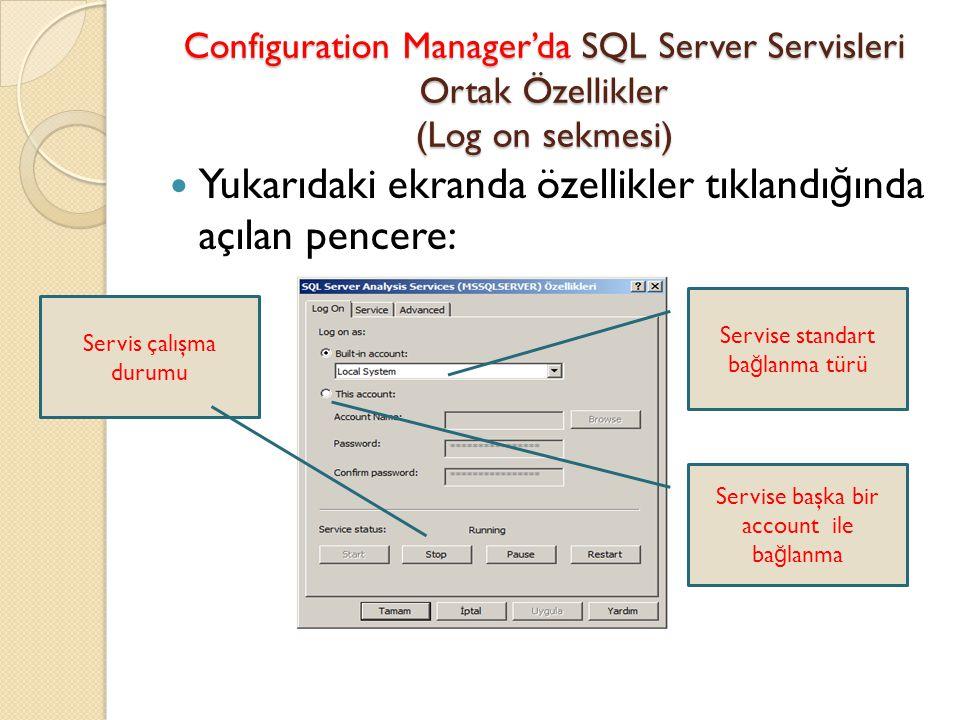 Configuration Manager'da SQL Server Servisleri Ortak Özellikler (Log on sekmesi) Yukarıdaki ekranda özellikler tıklandı ğ ında açılan pencere: Servise