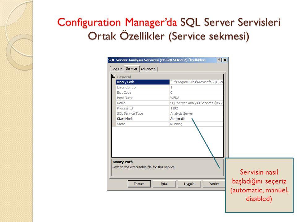 Configuration Manager'da SQL Server Servisleri Ortak Özellikler (Service sekmesi) Servisin nasıl başladı ğ ını seçeriz (automatic, manuel, disabled)