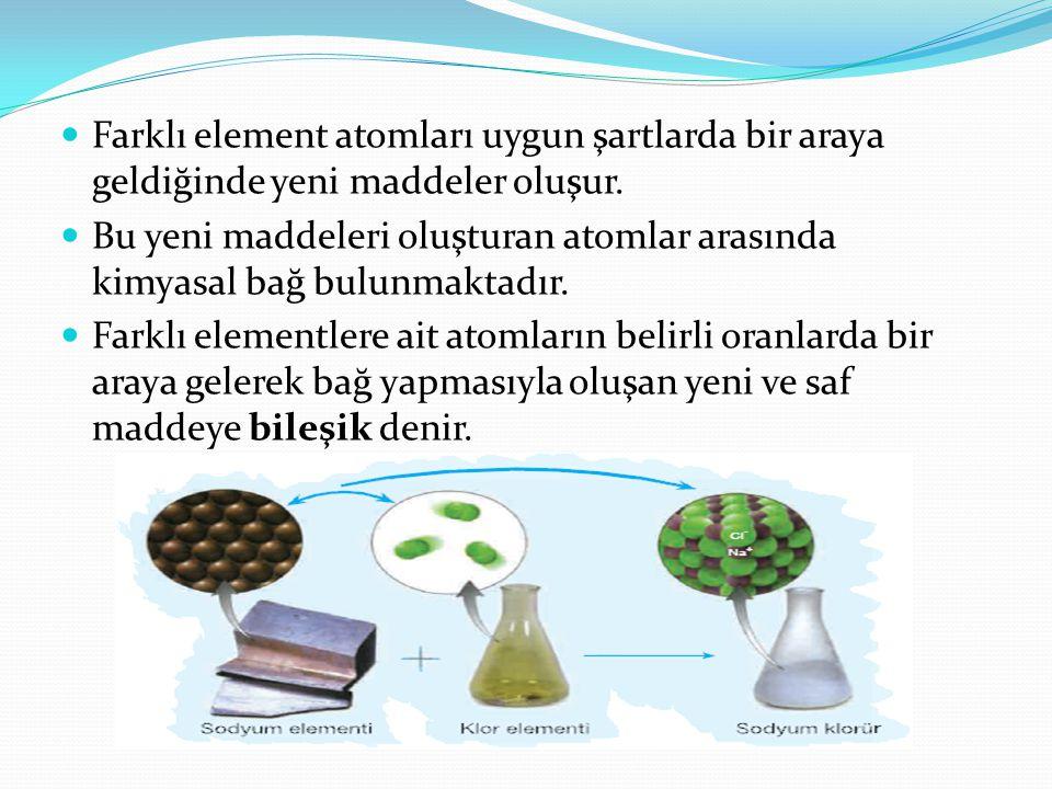 Bileşikler, kendilerini oluşturan elementlerden tamamen farklı fiziksel ve kimyasal özelliklere sahiptir.