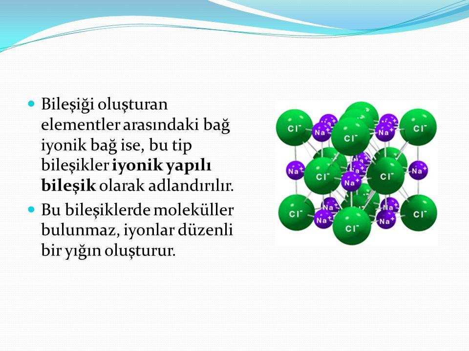 Bileşiği oluşturan elementler arasındaki bağ iyonik bağ ise, bu tip bileşikler iyonik yapılı bileşik olarak adlandırılır. Bu bileşiklerde moleküller b