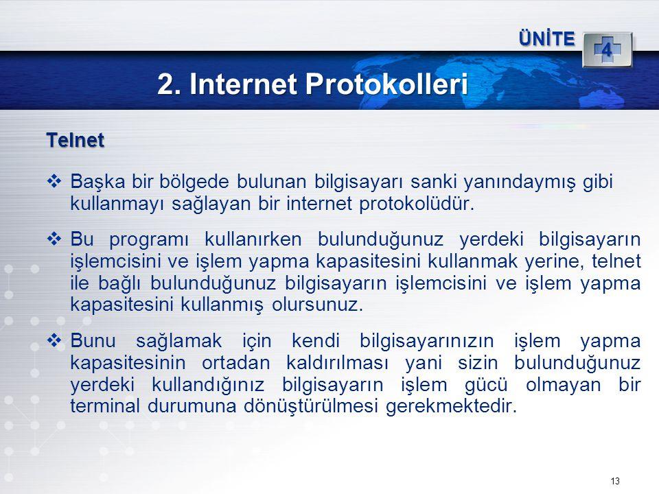 13 2. Internet Protokolleri ÜNİTE 4 Telnet  Başka bir bölgede bulunan bilgisayarı sanki yanındaymış gibi kullanmayı sağlayan bir internet protokolüdü