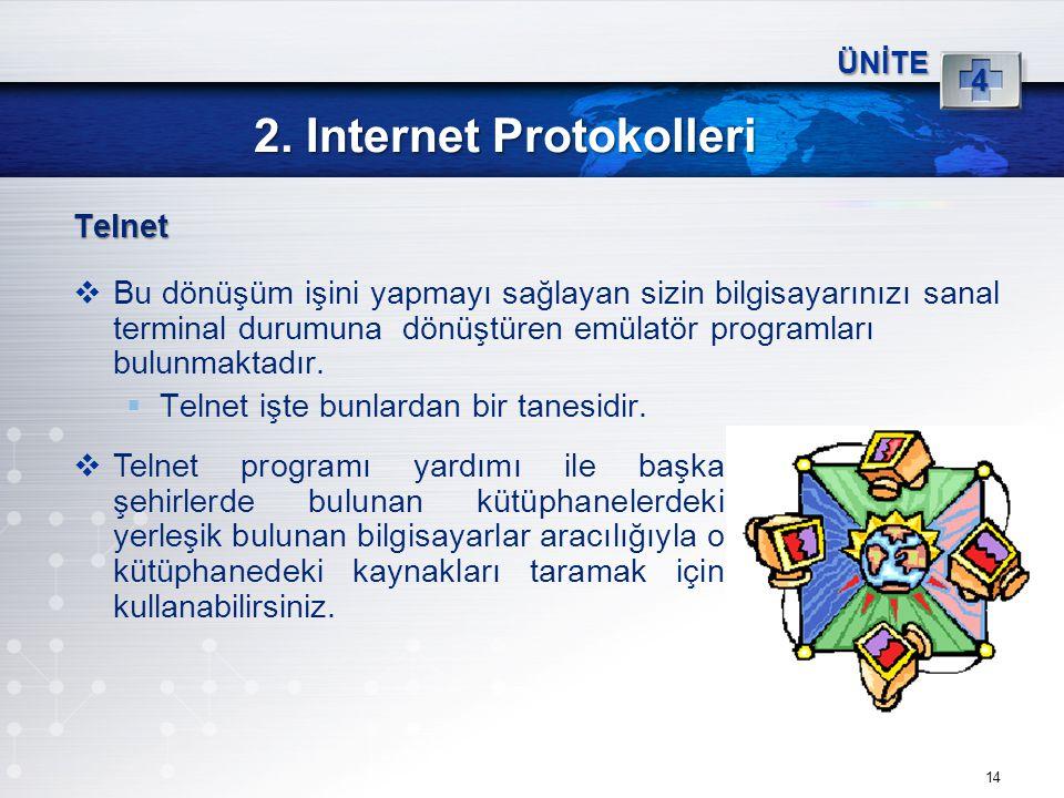 14 2. Internet Protokolleri ÜNİTE 4 Telnet  Bu dönüşüm işini yapmayı sağlayan sizin bilgisayarınızı sanal terminal durumuna dönüştüren emülatör progr