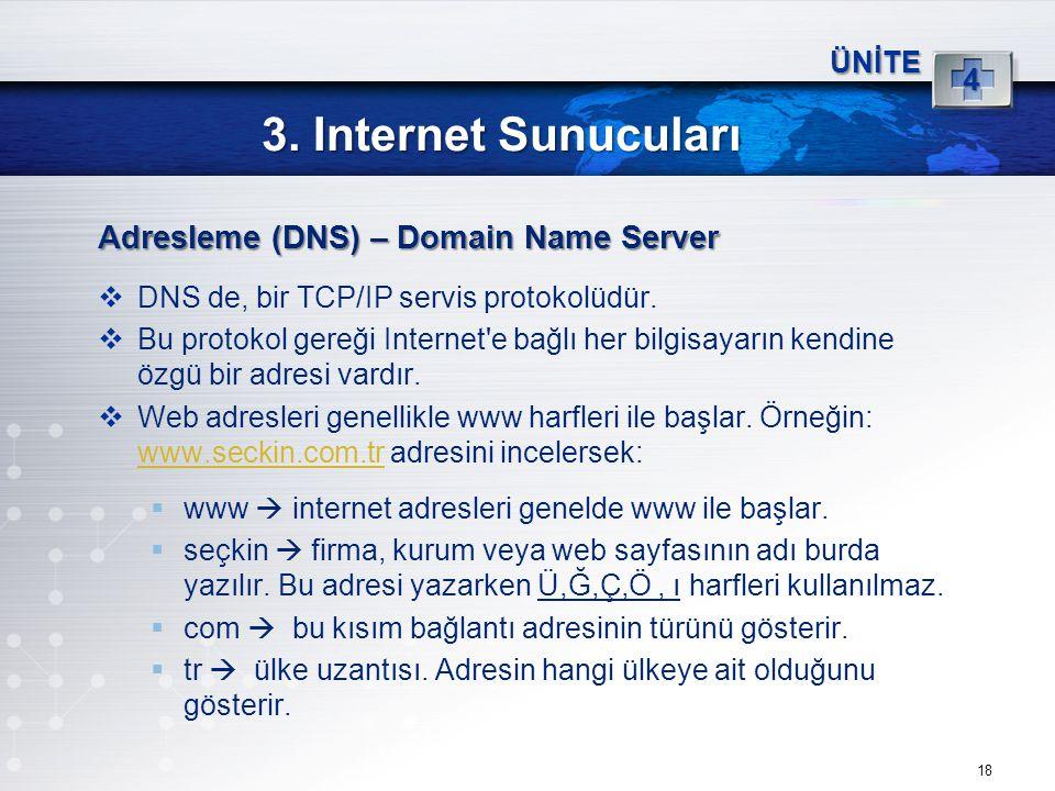 18 3. Internet Sunucuları ÜNİTE 4 Adresleme (DNS) – Domain Name Server  DNS de, bir TCP/IP servis protokolüdür.  Bu protokol gereği Internet'e bağlı