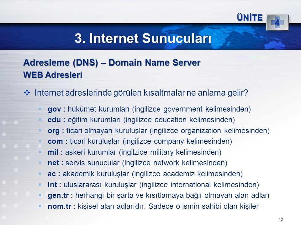 19 3. Internet Sunucuları ÜNİTE 4 Adresleme (DNS) – Domain Name Server WEB Adresleri  Internet adreslerinde görülen kısaltmalar ne anlama gelir?  go