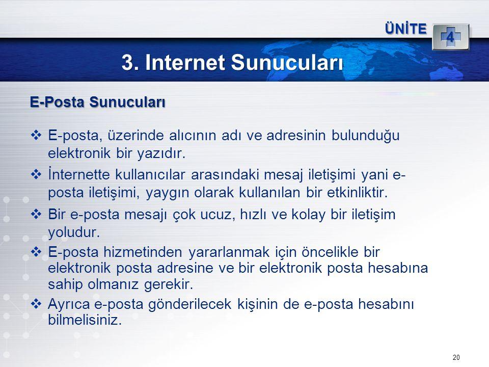 20 3. Internet Sunucuları ÜNİTE 4 E-Posta Sunucuları  E-posta, üzerinde alıcının adı ve adresinin bulunduğu elektronik bir yazıdır.  İnternette kull