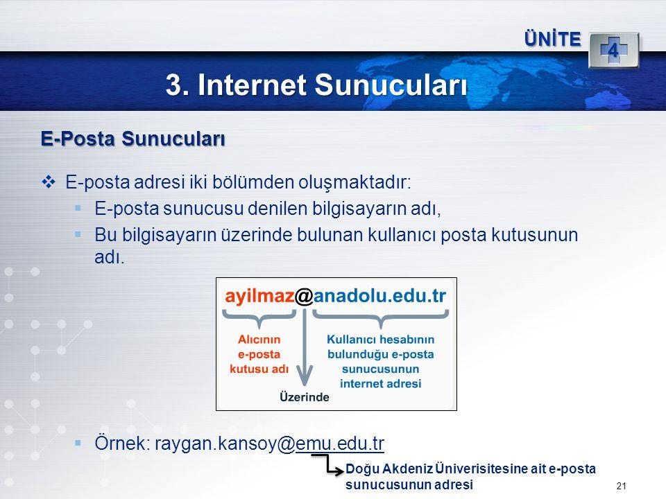 21 3. Internet Sunucuları ÜNİTE 4 E-Posta Sunucuları  E-posta adresi iki bölümden oluşmaktadır:  E-posta sunucusu denilen bilgisayarın adı,  Bu bil