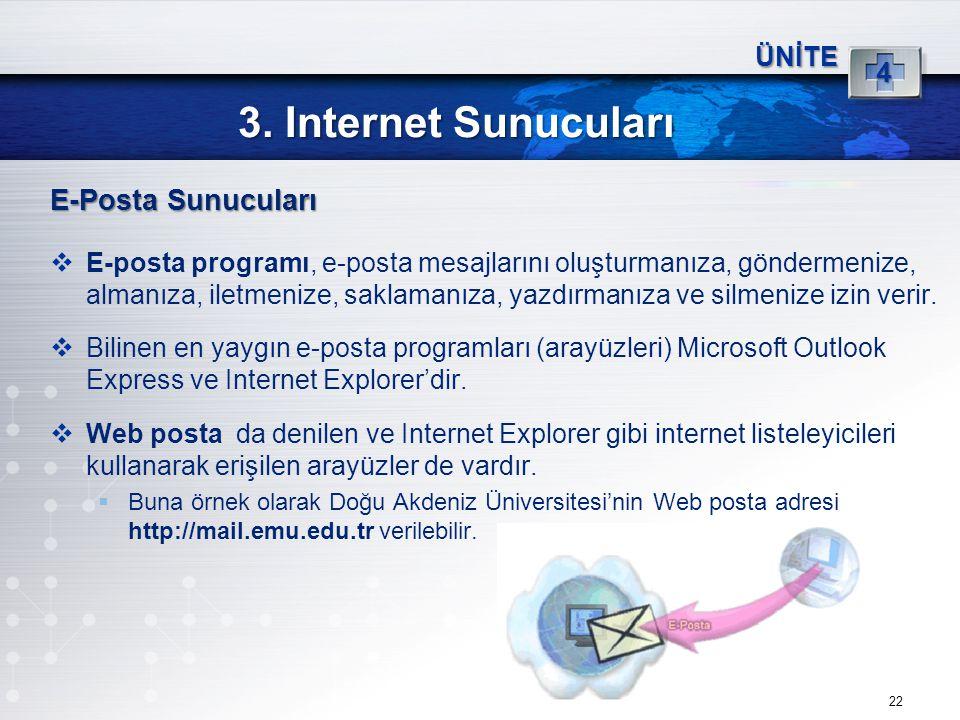22 3. Internet Sunucuları ÜNİTE 4 E-Posta Sunucuları  E-posta programı, e-posta mesajlarını oluşturmanıza, göndermenize, almanıza, iletmenize, saklam