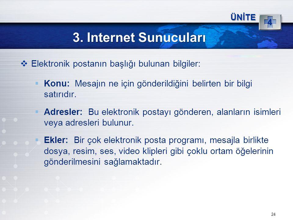 24 3. Internet Sunucuları ÜNİTE 4  Elektronik postanın başlığı bulunan bilgiler:  Konu: Mesajın ne için gönderildiğini belirten bir bilgi satırıdır.