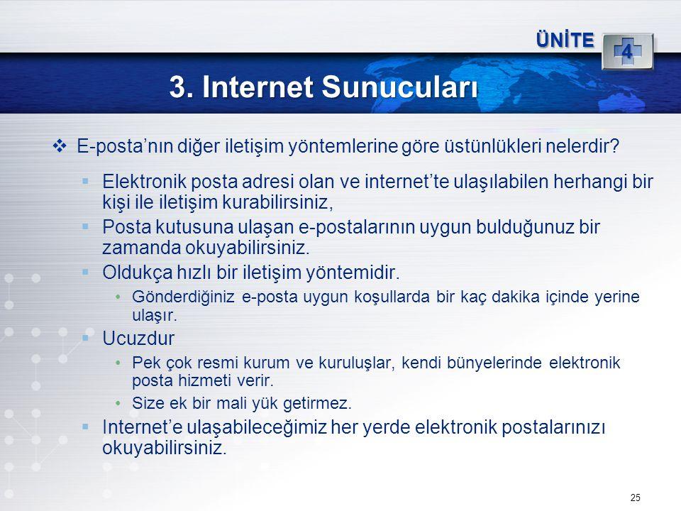 25 3. Internet Sunucuları ÜNİTE 4  E-posta'nın diğer iletişim yöntemlerine göre üstünlükleri nelerdir?  Elektronik posta adresi olan ve internet'te