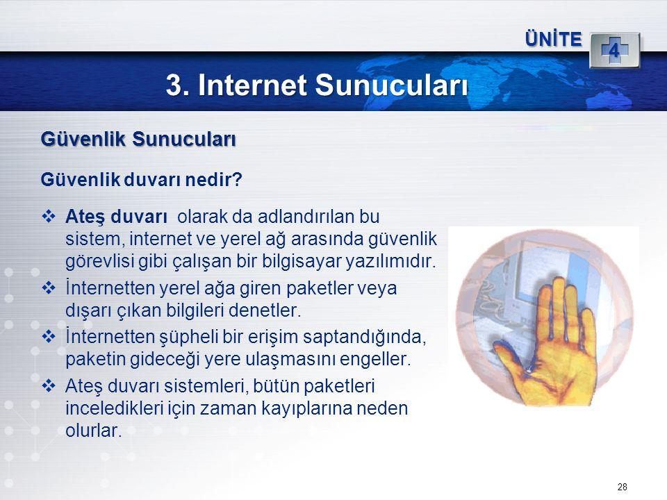 28 3. Internet Sunucuları ÜNİTE 4 Güvenlik Sunucuları Güvenlik duvarı nedir?  Ateş duvarı olarak da adlandırılan bu sistem, internet ve yerel ağ aras